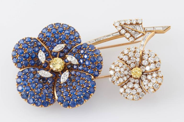 Cartier Sapphire Diamond Flower Brooch For Sale 3