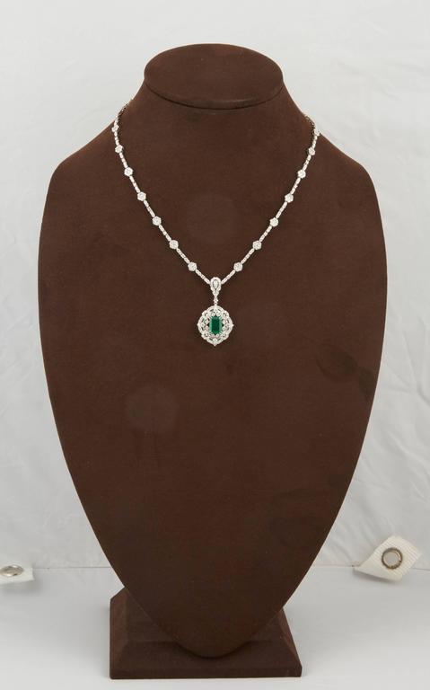 Women's Green Emerald Diamond White Gold Pendant Necklace For Sale