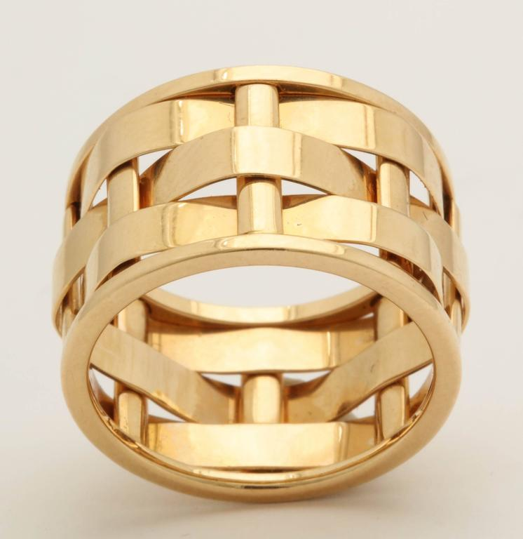 1990s Ralph Lauren Basket Weave Open Link Gold Band Ring 2