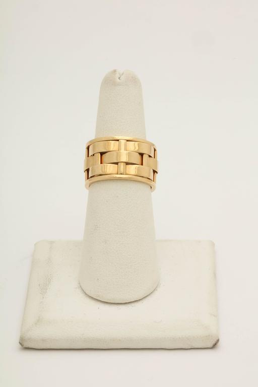 1990s Ralph Lauren Basket Weave Open Link Gold Band Ring 3