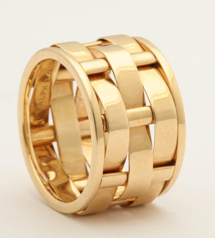 1990s Ralph Lauren Basket Weave Open Link Gold Band Ring 4