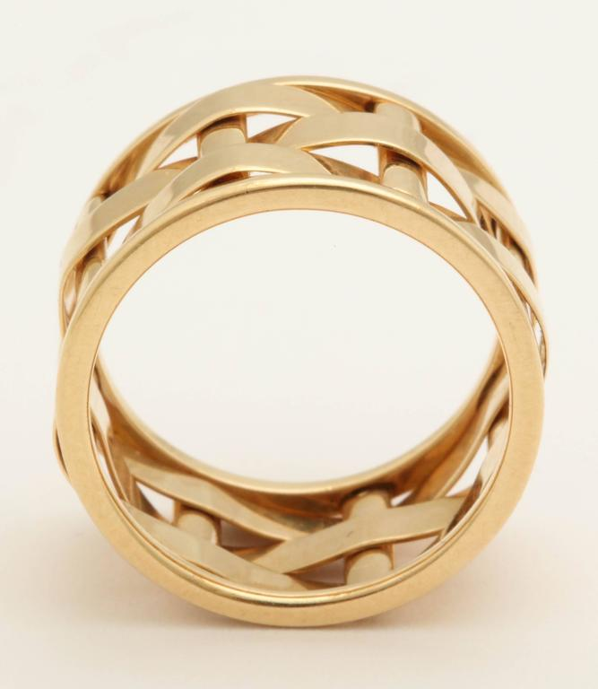 1990s Ralph Lauren Basket Weave Open Link Gold Band Ring 5