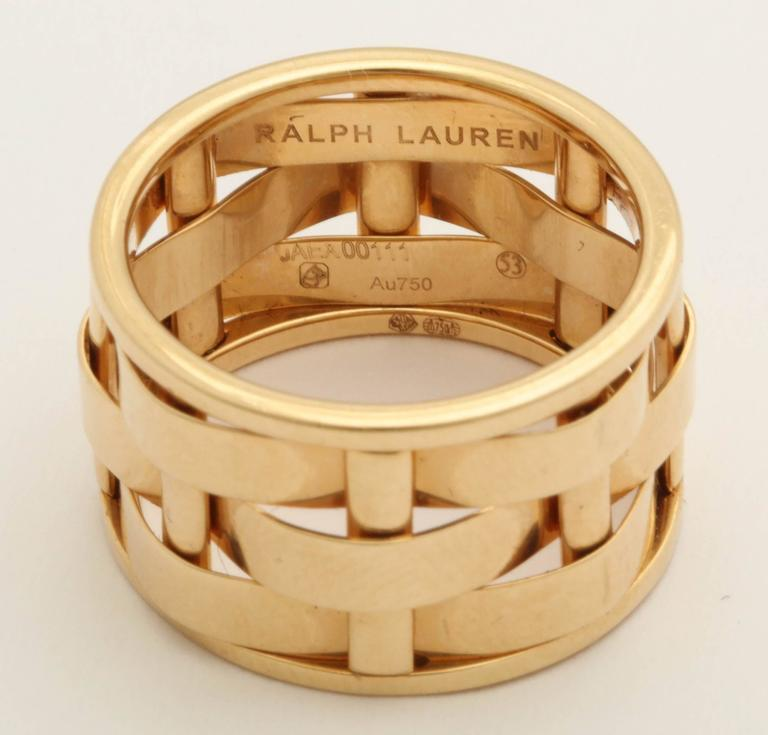 1990s Ralph Lauren Basket Weave Open Link Gold Band Ring 6