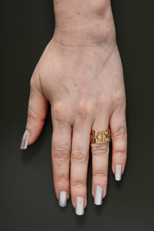 1990s Ralph Lauren Basket Weave Open Link Gold Band Ring 8