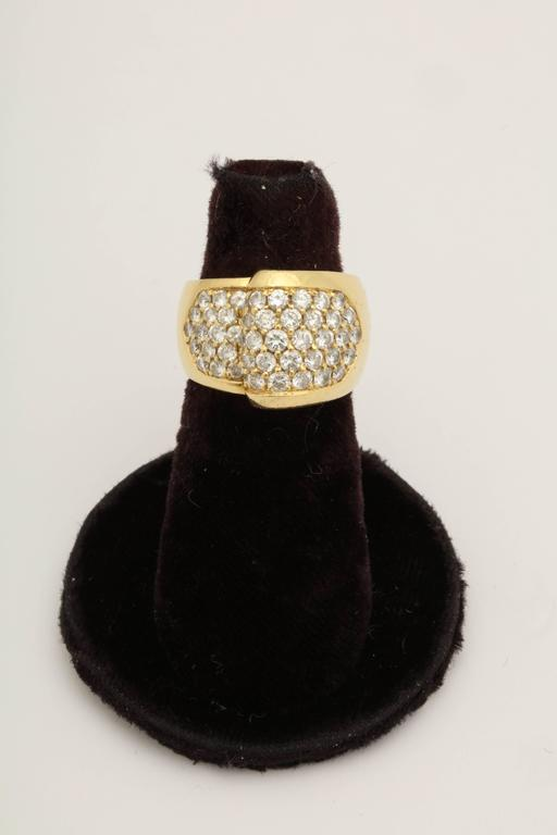 One 18kt Yellow Gold Cocktail Ring Embellished With Numerous Full Cut Diamonds Weighing Approximately 2.50 cts Total Weight. Made In America In The 1980's.