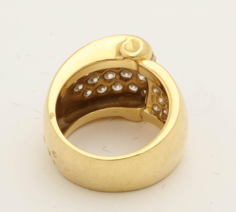 1980s Chic Architectural Diamond Gold Cocktail Ring For Sale 1