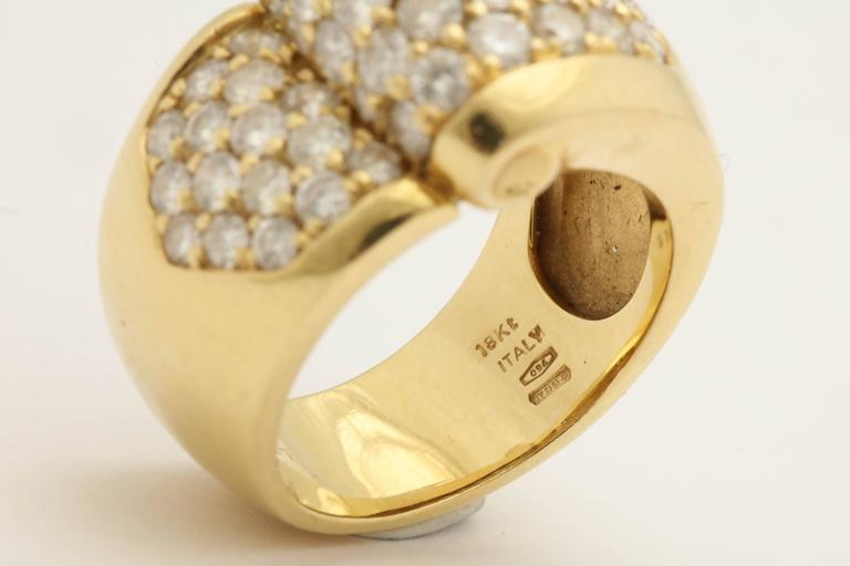 1980s Chic Architectural Diamond Gold Cocktail Ring For Sale 3