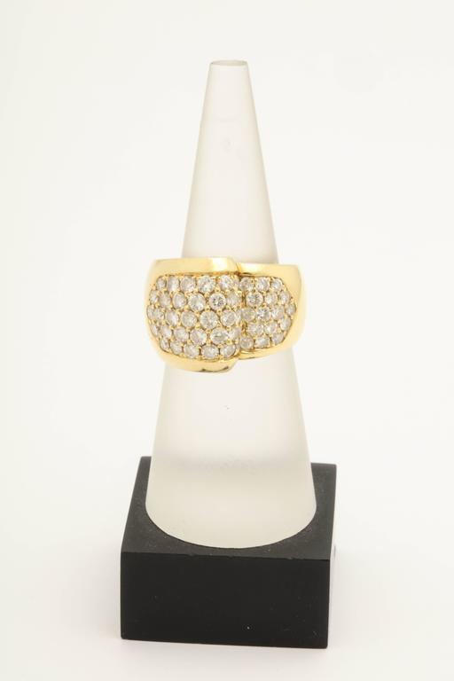 1980s Chic Architectural Diamond Gold Cocktail Ring 9