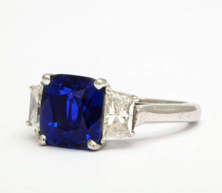 Cushion Cut Natural Sapphire and Diamond Ring For Sale