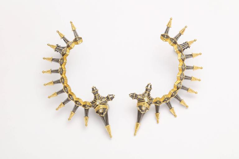 Diamond Gold Rhodium Plated Silver Dagger Ear Cuffs 3