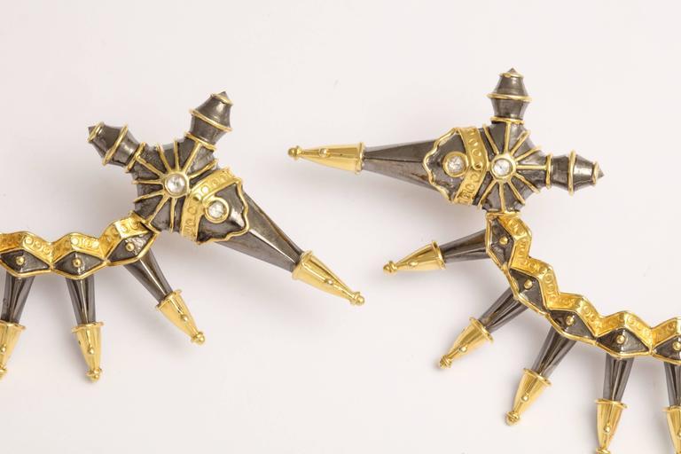 Diamond Gold Rhodium Plated Silver Dagger Ear Cuffs 5