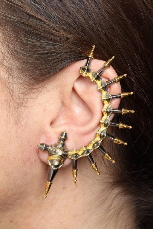Diamond Gold Rhodium Plated Silver Dagger Ear Cuffs 6