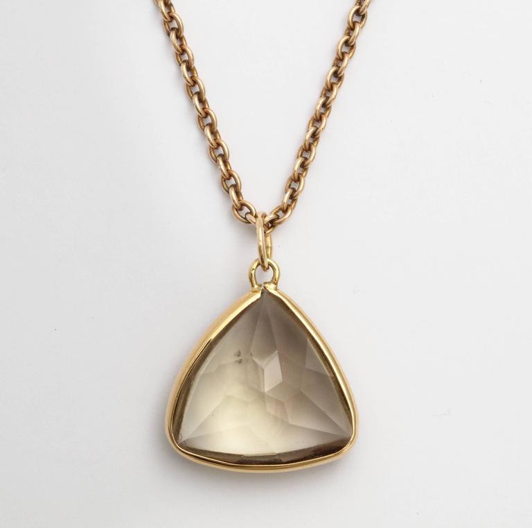 Modern Smoky Quartz Gold Pendant, 20th century