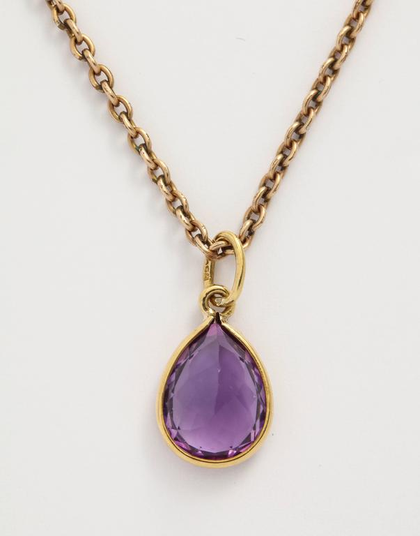 Women's or Men's Amethyst Gold Pendant For Sale