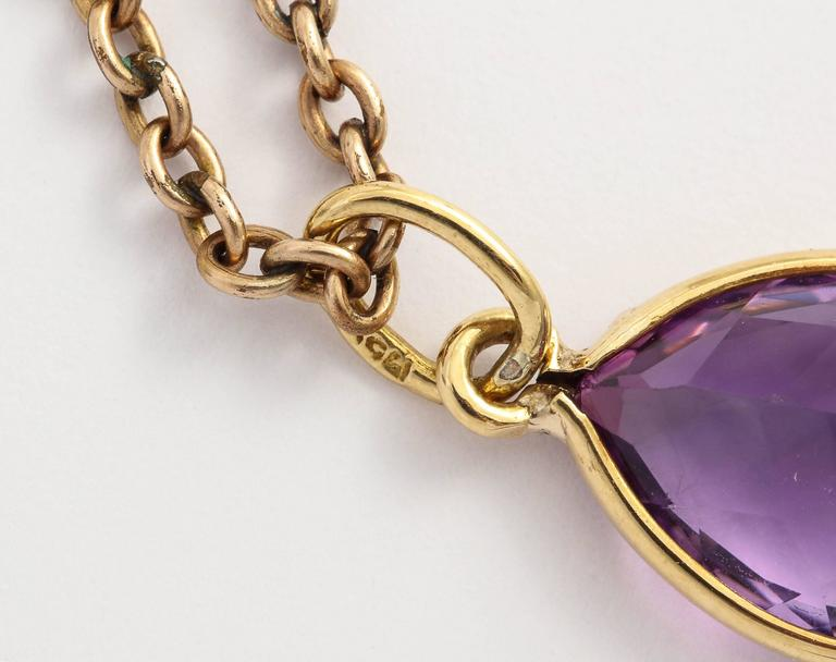 Amethyst Gold Pendant For Sale 1