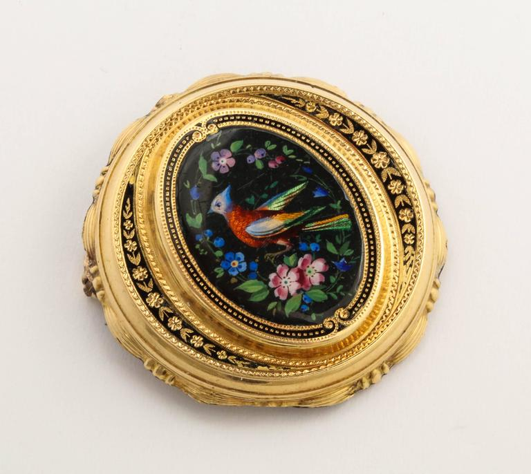 Painted Enamel Bird of Paradise Gold Pin, circa 1870 In Fair Condition For Sale In Lewiston, NY