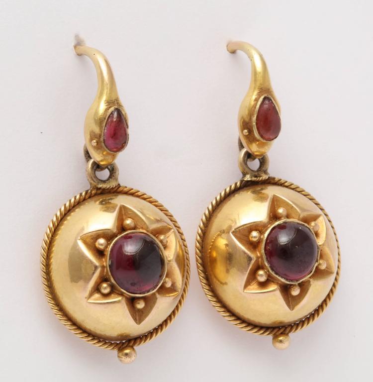 Victorian Garnet Snakes Head Earrings For Sale At 1stdibs