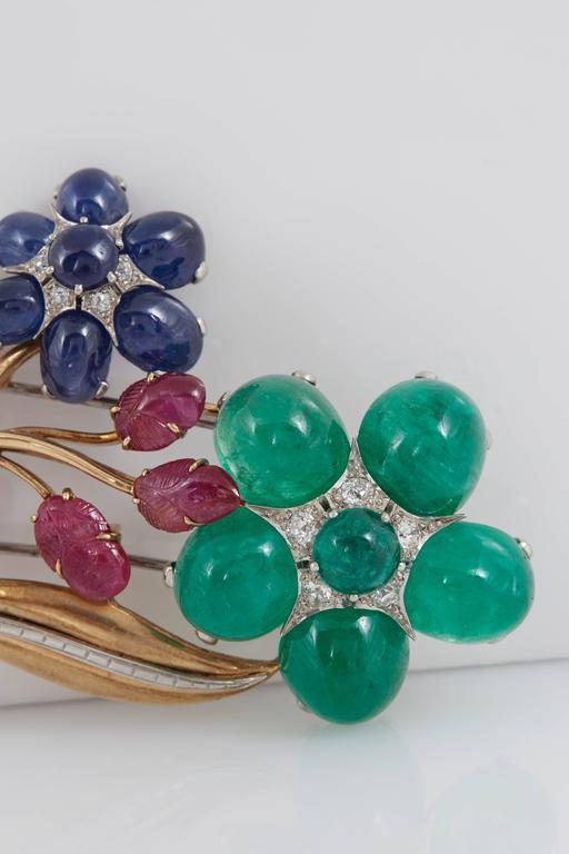 Retro Cabochon Emerald Ruby Sapphire Flower Pin 2