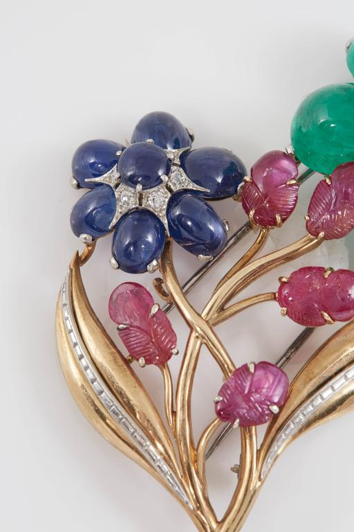 Retro Cabochon Emerald Ruby Sapphire Flower Pin 4