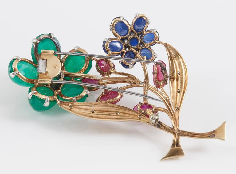 Retro Cabochon Emerald Ruby Sapphire Flower Pin 5
