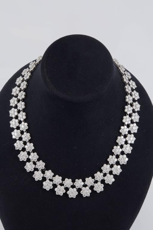 Women's Gorgeous Diamond Platinum Cluster Flower Necklace For Sale