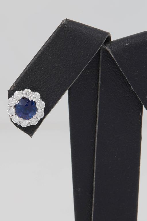 Contemporary Sapphire and Diamond Studs Earrings 1.00 Carat For Sale