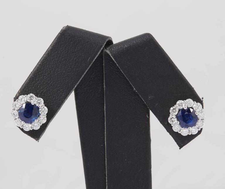 Women's Sapphire and Diamond Studs Earrings 1.00 Carat For Sale