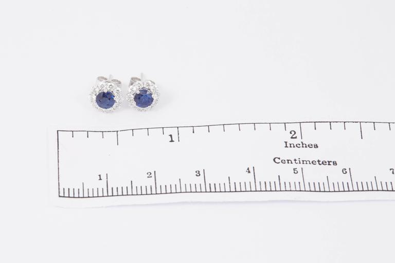 Sapphire and Diamond Studs Earrings 1.00 Carat For Sale 1