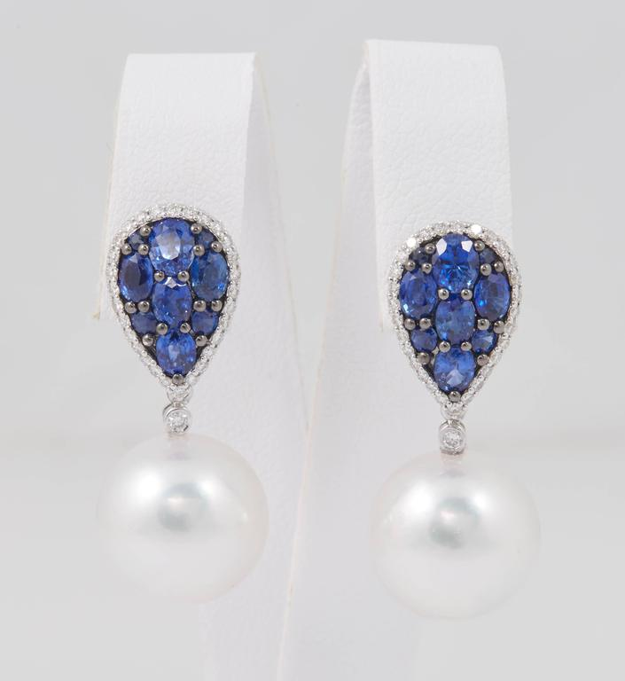 18K White Gold South Sea Pearl 13-14 mm Sapphire: 2.97 Carats Diamonds: 0.40 Carats