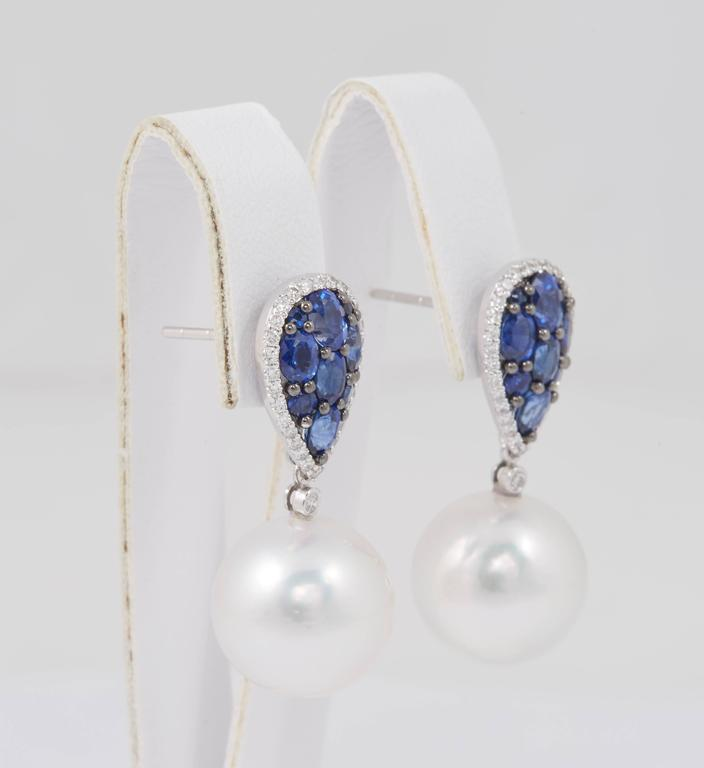 Contemporary South Sea Pearl and Sapphire Cluster Dangle Earrings For Sale