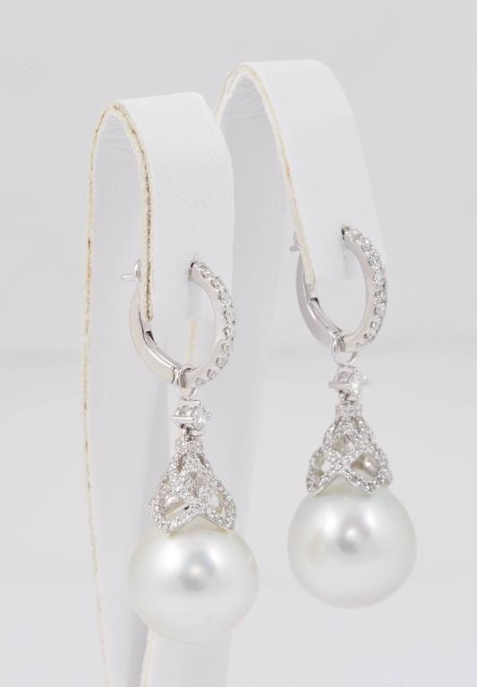 Art Deco HARBOR D. South Sea Pearls Diamonds White Gold Hoop Dangle Bell Shape Earrings  For Sale