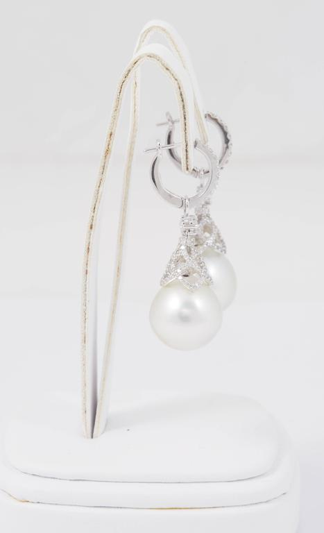 Round Cut HARBOR D. South Sea Pearls Diamonds White Gold Hoop Dangle Bell Shape Earrings  For Sale