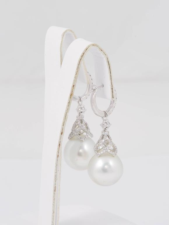 HARBOR D. South Sea Pearls Diamonds White Gold Hoop Dangle Bell Shape Earrings  In New Condition For Sale In New York, NY