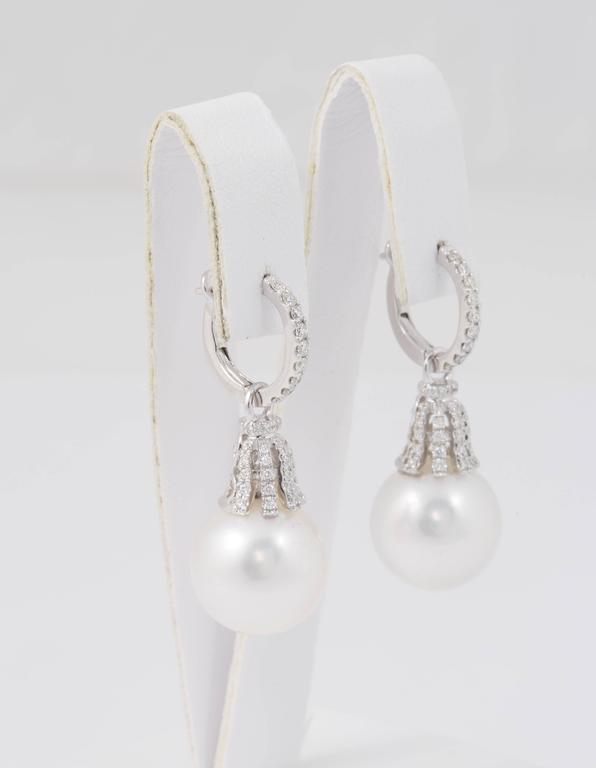 Contemporary Diamond Hoop and South Sea Bell Shape Dangle Earrings For Sale