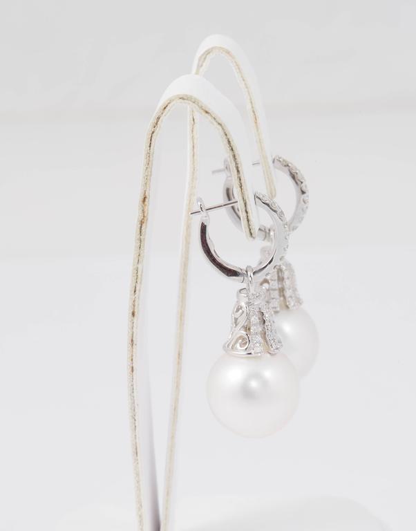 Round Cut Diamond Hoop and South Sea Bell Shape Dangle Earrings For Sale