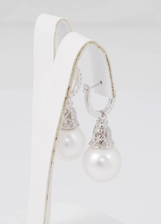 Diamond Hoop and South Sea Bell Shape Dangle Earrings In New Condition For Sale In New York, NY