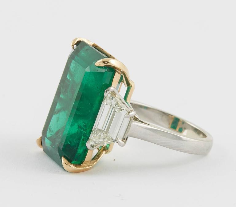 GIA Certified 18.83 Green Emerald and Diamond Ring For Sale 2