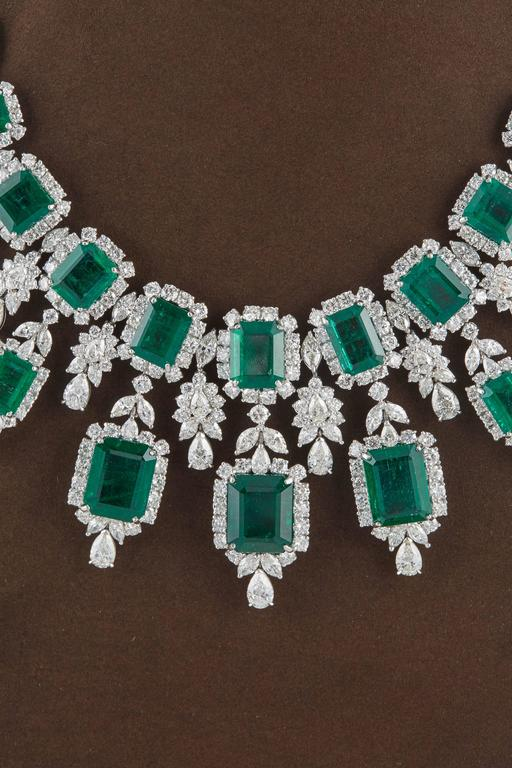 An AMAZING piece!  137.60 carats of Fine Green Emeralds   87.80 carats of white round brilliant, pear and marquise diamonds.   Platinum  The middle drop measures approximately 2.3 inches from top to bottom.   An incredible necklace comprised of
