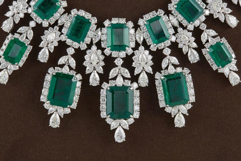 Important Emerald and Diamond Drop Necklace In As new Condition For Sale In New York, NY