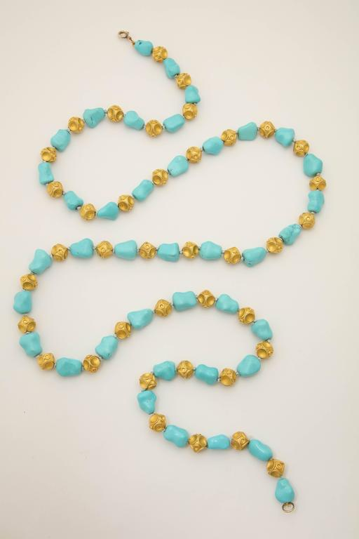Women's 1960s Nugget Shape Turquoises with Alternating Crater Design Gold Ball Chain For Sale