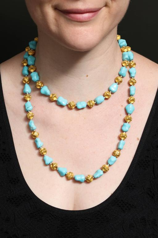 1960s Nugget Shape Turquoises with Alternating Crater Design Gold Ball Chain For Sale 1