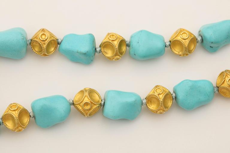 1960s Nugget Shape Turquoises with Alternating Crater Design Gold Ball Chain For Sale 2