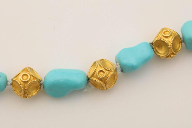 1960s Nugget Shape Turquoises with Alternating Crater Design Gold Ball Chain For Sale 3