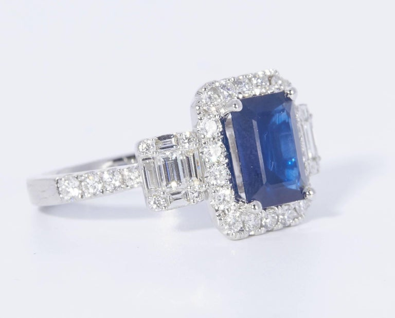 18k white gold Sapphire : 2.28 Cts. Diamonds: 1.03 Carats It comes with a retail appraisal. All our gemstone are genuine, and are sourced with the highest degree of integrity