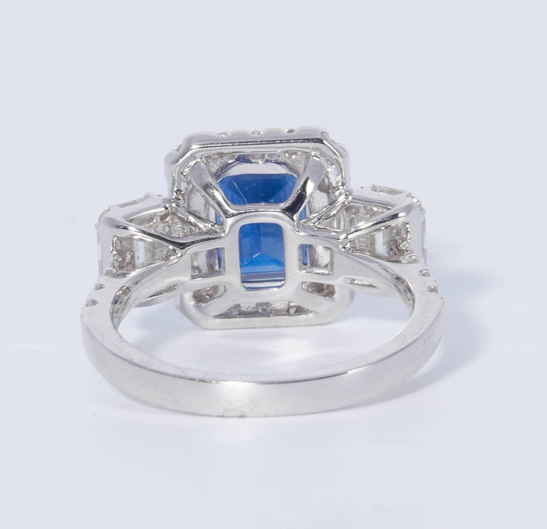 Emerald Cut HARBOR D. Diamond Sapphire Cocktail Engagement Ring 3.31 Carats For Sale