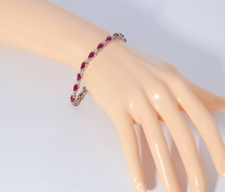 Women's Pear Shape Ruby and Diamond Bracelet For Sale