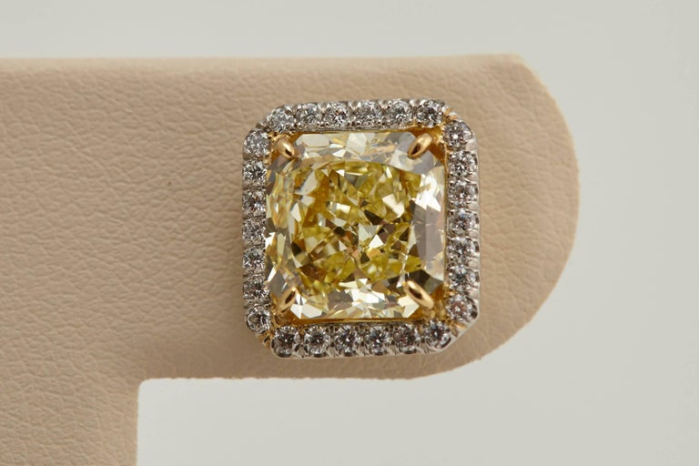 Radiant GIA Fancy Yellow Diamond Earrings 6.61 Carat For Sale 4