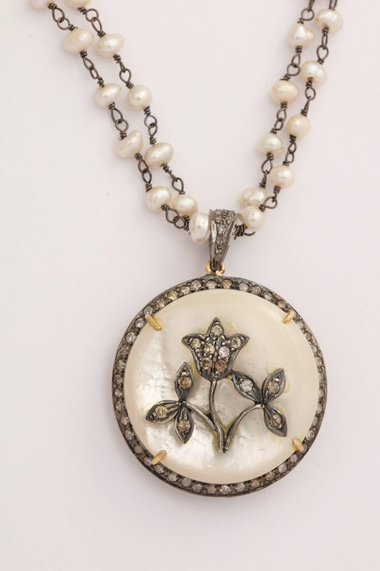 Anglo-Indian Mother-of-Pearl Silver Diamond Pearl Chain Necklace For Sale
