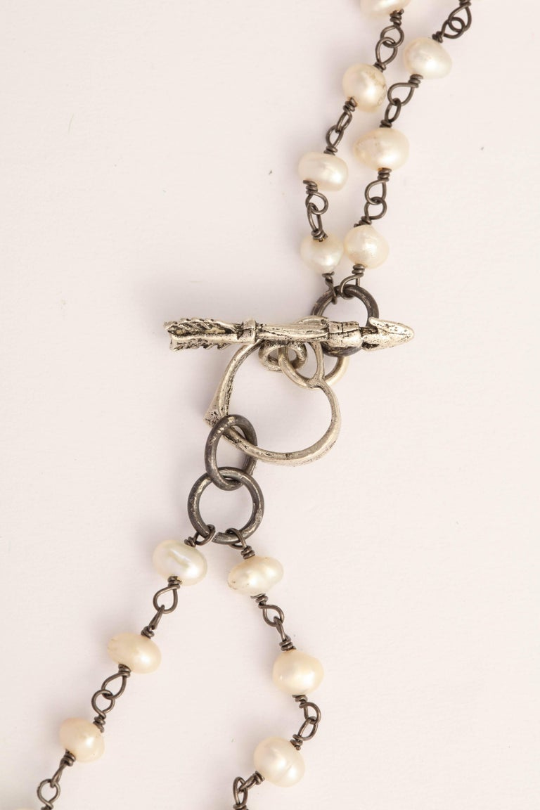 Mother-of-Pearl Silver Diamond Pearl Chain Necklace In As New Condition For Sale In TRYON, NC