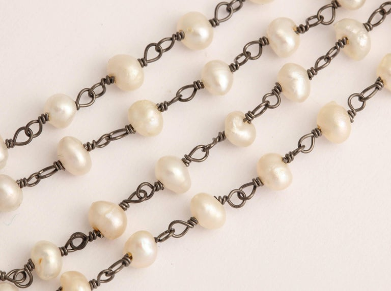 Mother-of-Pearl Silver Diamond Pearl Chain Necklace For Sale 2
